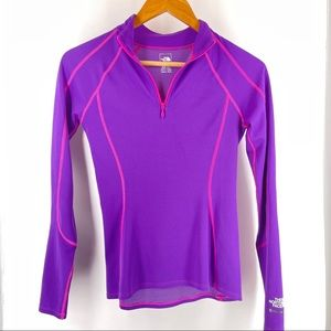 The North Face Purple Quart Zip Pullover Top XS